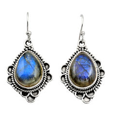 11.66cts natural blue labradorite 925 sterling silver dangle earrings r21995