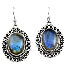 12.34cts natural blue labradorite 925 sterling silver dangle earrings r21998