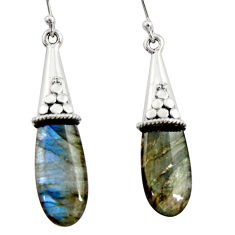 16.44cts natural blue labradorite 925 sterling silver dangle earrings r22862