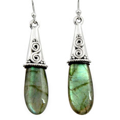 17.53cts natural blue labradorite 925 sterling silver dangle earrings r22869