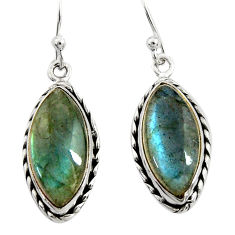 12.60cts natural blue labradorite 925 sterling silver dangle earrings r22882