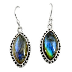 12.15cts natural blue labradorite 925 sterling silver dangle earrings r22883