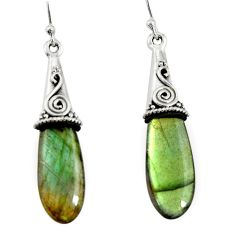 16.88cts natural blue labradorite 925 sterling silver dangle earrings r22898