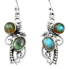4.85cts natural blue labradorite 925 sterling silver dangle earrings r26095