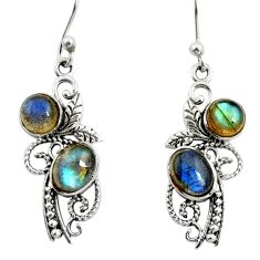 4.92cts natural blue labradorite 925 sterling silver dangle earrings r26096