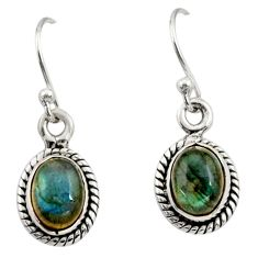 4.24cts natural blue labradorite 925 sterling silver dangle earrings r26715