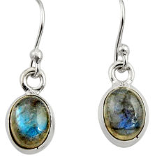 3.94cts natural blue labradorite 925 sterling silver dangle earrings r26716