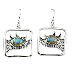 3.16cts natural blue labradorite 925 sterling silver dangle earrings r27013