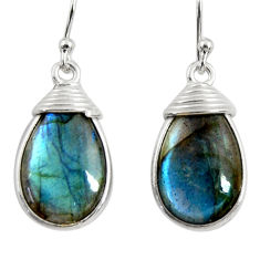 12.96cts natural blue labradorite 925 sterling silver dangle earrings r29189