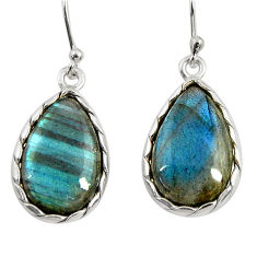 13.52cts natural blue labradorite 925 sterling silver dangle earrings r29191