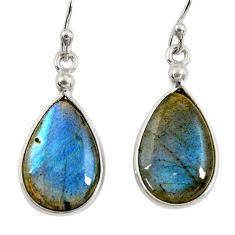 11.28cts natural blue labradorite 925 sterling silver dangle earrings r29192