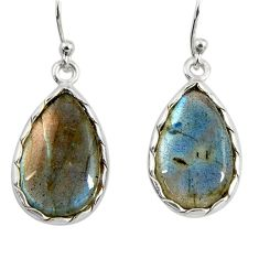 13.13cts natural blue labradorite 925 sterling silver dangle earrings r29193