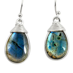 13.13cts natural blue labradorite 925 sterling silver dangle earrings r29195