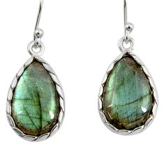 13.13cts natural blue labradorite 925 sterling silver dangle earrings r29197