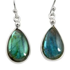 11.37cts natural blue labradorite 925 sterling silver dangle earrings r29200