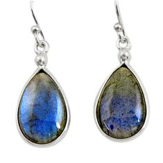 10.08cts natural blue labradorite 925 sterling silver dangle earrings r30385