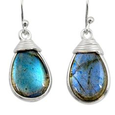 11.73cts natural blue labradorite 925 sterling silver dangle earrings r30390