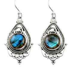 8.31cts natural blue labradorite 925 sterling silver dangle earrings r30835
