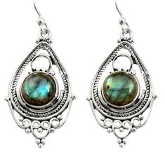 6.54cts natural blue labradorite 925 sterling silver dangle earrings r30913