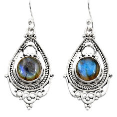 6.93cts natural blue labradorite 925 sterling silver dangle earrings r30915