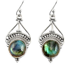 7.18cts natural blue labradorite 925 sterling silver dangle earrings r31013