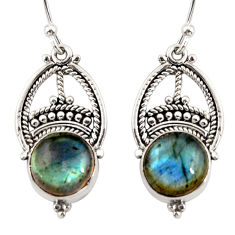 7.58cts natural blue labradorite 925 sterling silver dangle earrings r31029