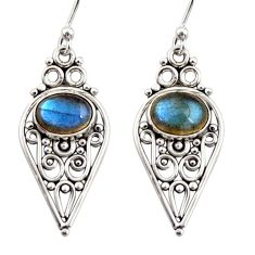 4.28cts natural blue labradorite 925 sterling silver dangle earrings r31125