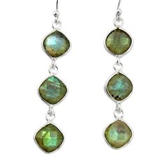 11.19cts natural blue labradorite 925 sterling silver dangle earrings r33532
