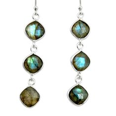 11.69cts natural blue labradorite 925 sterling silver dangle earrings r33540