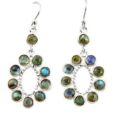 9.72cts natural blue labradorite 925 sterling silver dangle earrings r35591