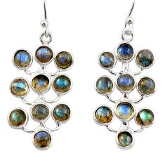 9.72cts natural blue labradorite 925 sterling silver dangle earrings r35812