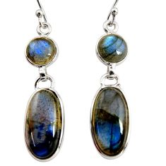 12.99cts natural blue labradorite 925 sterling silver dangle earrings r36511