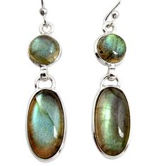 13.43cts natural blue labradorite 925 sterling silver dangle earrings r36516