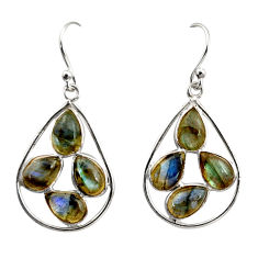 12.54cts natural blue labradorite 925 sterling silver dangle earrings r37593