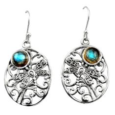 2.33cts natural blue labradorite 925 sterling silver dangle earrings r38073
