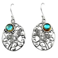 2.36cts natural blue labradorite 925 sterling silver dangle earrings r38075