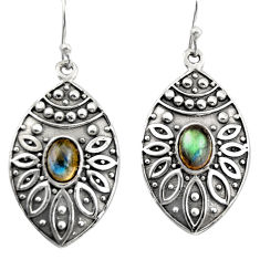 3.41cts natural blue labradorite 925 sterling silver dangle earrings r38078