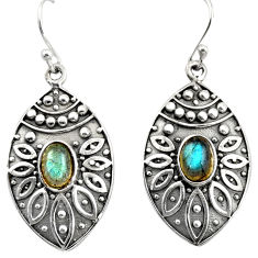3.40cts natural blue labradorite 925 sterling silver dangle earrings r38079