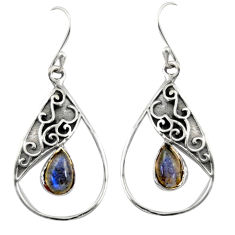 4.43cts natural blue labradorite 925 sterling silver dangle earrings r38113