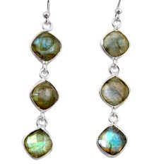 11.28cts natural blue labradorite 925 sterling silver dangle earrings r38674