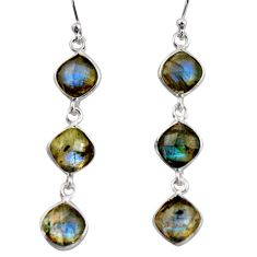 12.54cts natural blue labradorite 925 sterling silver dangle earrings r38675