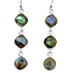 13.13cts natural blue labradorite 925 sterling silver dangle earrings r38677