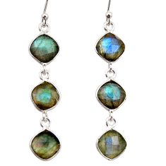 11.26cts natural blue labradorite 925 sterling silver dangle earrings r38699