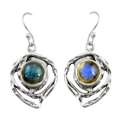 5.97cts natural blue labradorite 925 sterling silver dangle earrings r39172