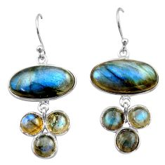 19.09cts natural blue labradorite 925 sterling silver dangle earrings r40412