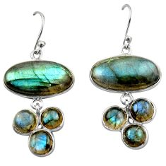 19.03cts natural blue labradorite 925 sterling silver dangle earrings r40413