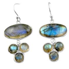 19.76cts natural blue labradorite 925 sterling silver dangle earrings r40415