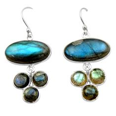 19.76cts natural blue labradorite 925 sterling silver dangle earrings r40416