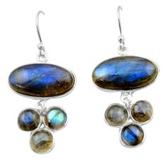 19.09cts natural blue labradorite 925 sterling silver dangle earrings r40417