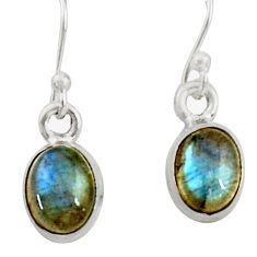 3.89cts natural blue labradorite 925 sterling silver dangle earrings r41109
